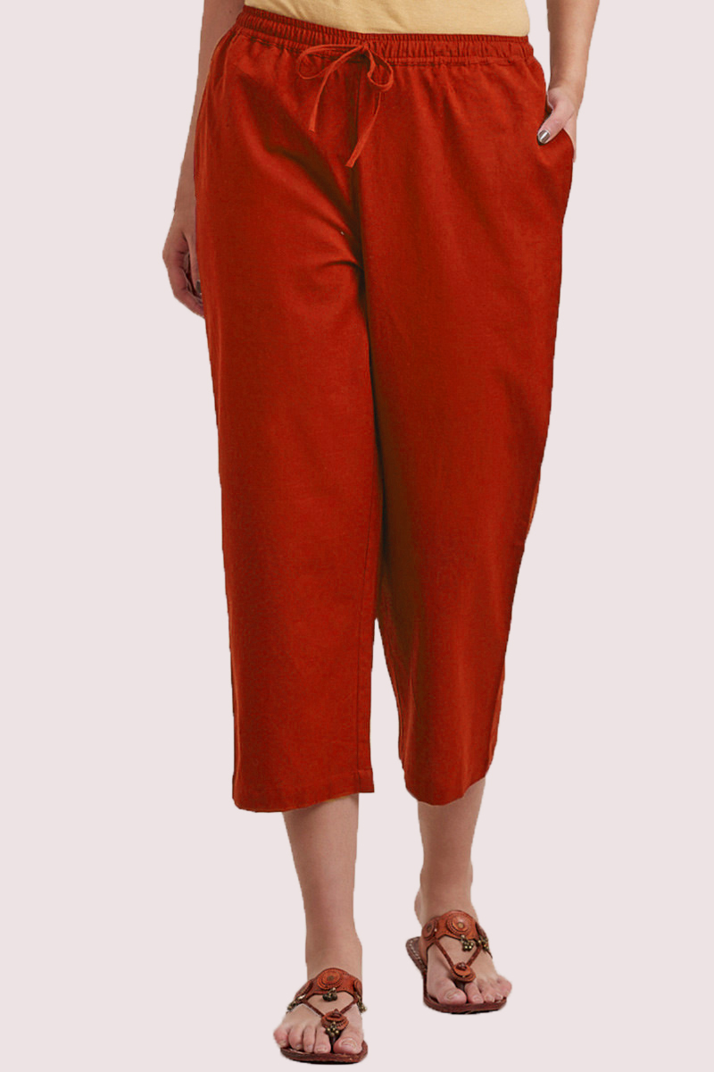 Red Cotton Solid Women Culottes-33318