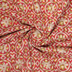 Red Cream Block Print Cotton Fabric-16021