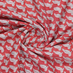 Red Cream Block Print Cotton Fabric-16099