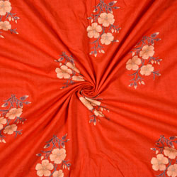 Red Cream Floral Cotton Fabric-28586