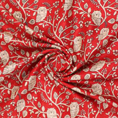 Red Cream Manipuri Silk Fabric-16409