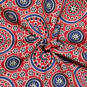 Red-Cream and Blue Flower Design Ajrakh Block Print Fabric-14064