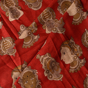 Red-Cream and Gray Kuchipudi Face Kalamkari Manipuri Silk Fabric-16343