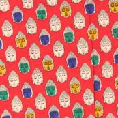 Red-Cream and Green Buddha Design Kalamkari Cotton Fabric-10004