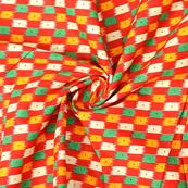 Red-Cream and Green Kalamkari Cotton Fabric-10063