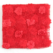Red Flower Net Embroidery Fabric-60875
