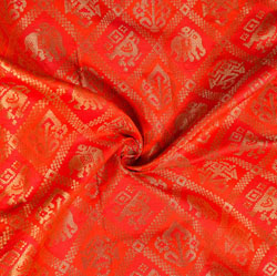 Red Golden Animal Brocade Silk Fabric-12025