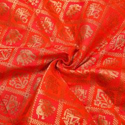 Red Golden Animal Brocade Silk Fabric-12207