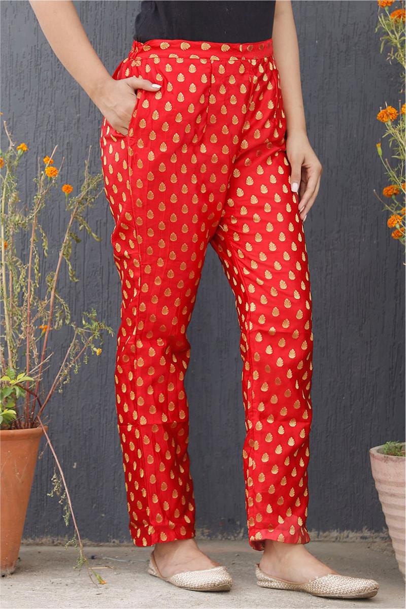 Red Golden Brocade Silk Ankle Women Pant-34198