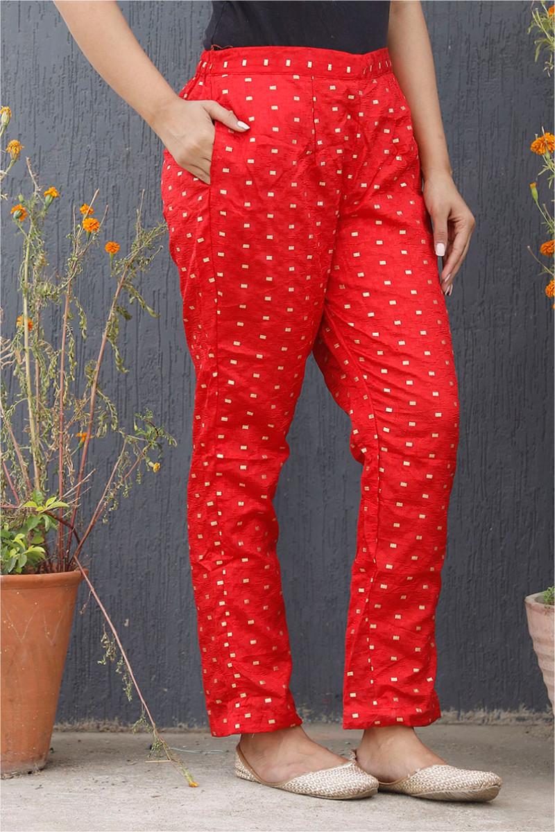 Red Golden Brocade Silk Ankle Women Pant-34201