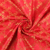 Red Golden Brocade Silk Fabric-8987