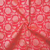 Red Golden Brocade Silk Fabric-9055