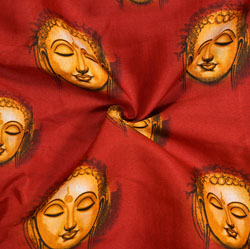 Red Golden Buddha Cotton Kalamkari Fabric-28025
