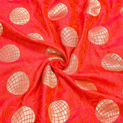 Red Golden Circle Brocade Silk Fabric-12340