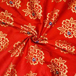 Red Golden Circle Brocade Silk Fabric-12602