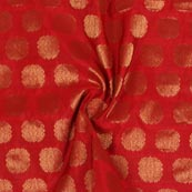 Red Golden Circle Brocade Silk Fabric-9205