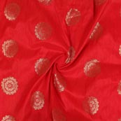 Red Golden Circle Brocade Silk Fabric-9242