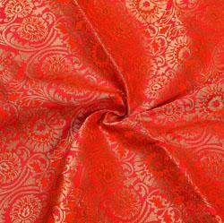Red Golden Floral Brocade Silk Fabric-12183