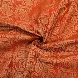 Red Golden Floral Brocade Silk Fabric-12203