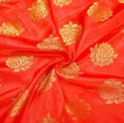 Red Golden Floral Brocade Silk Fabric-12343