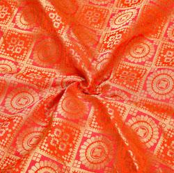 Red Golden Floral Brocade Silk Fabric-12369