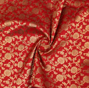 Red Golden Floral Brocade Silk Fabric-9373