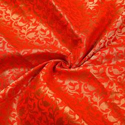 Red Golden Floral Chanderi Zari Silk Fabric-12245