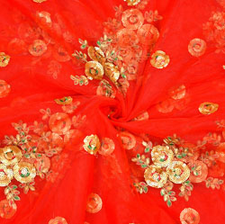 Red Golden Floral Organza Embroidery Fabric-22193