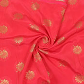 Red Golden Floral Brocade Silk Fabric-9096