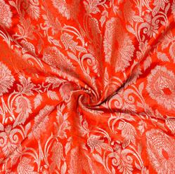 Red Golden Kinkhab Banarasi Silk Fabric-12623