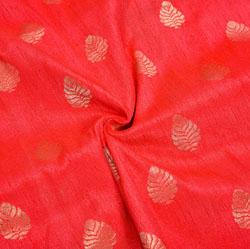 Red Golden Paisley Brocade Silk Fabric-12362