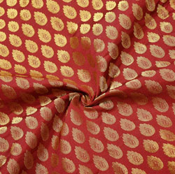 Red Golden Paisley Brocade Silk Fabric-12541