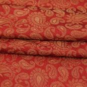 Red Golden Paisley Jacquard Brocade Silk Fabric-9129