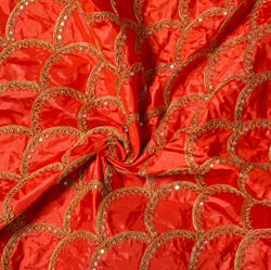 Red Golden Embroidery Silk Paper Fabric-18503