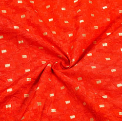 Red Golden Polka Brocade Silk Fabric-12347