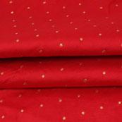 Red Golden Polka Taffeta Silk Fabric-9094