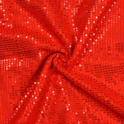 Red Golden Embroidery Silk Sequin Fabric-18693