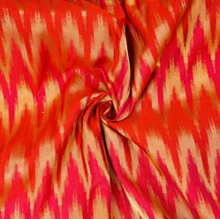 Red Golden Zig-Zag Brocade Silk Fabric-12626