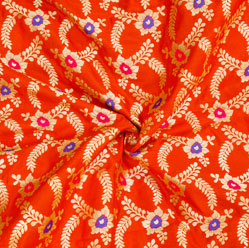 Red Golden and Blue Floral Brocade Silk Fabric-12538