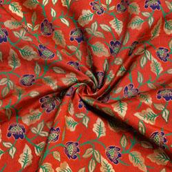 Red Golden and Green Floral Digial Banarasi Silk Fabric-12007