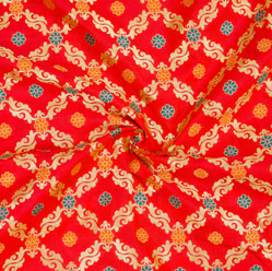 Red Golden and Orange Floral Brocade Silk Fabric-12531