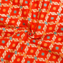 Red Golden and Orange Floral Brocade Silk Fabric-12547
