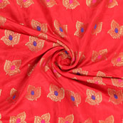 Red Golden and Pink Banarasi Silk Fabric-8948