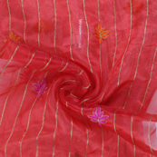 Red-Golden and Pink Flower Organza Embroidery Fabric-51429