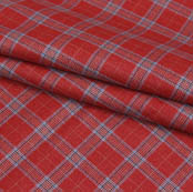Red Gray Checks Wool Fabric-90100