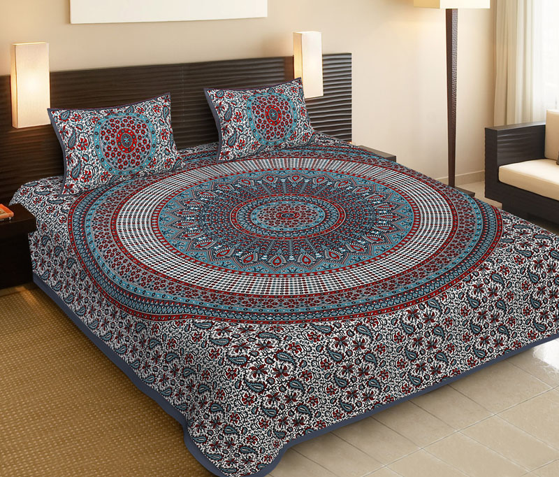 Red Gray Cotton Jaipuri Bedsheet-545