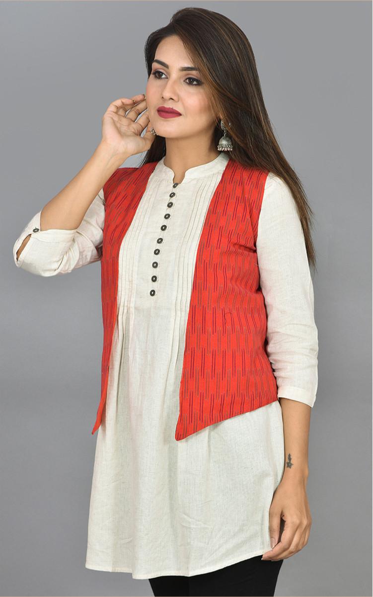 Red Gray Ikat Cotton Koti Jacket-36272