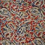 Red Green Beige and Blue Traditional Cotton Hand Painted Kalamkari Fabric