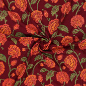 Red Green Block Print Rayon Fabric-14808