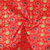 Red Green Blue and Golden Floral Brocade Silk Fabric-9283